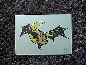 Papiernictvo - Upírsky netopierik, Halloweenska pohľadnica/pozvánka - 12350611_