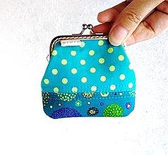 Peňaženky - Peňaženka mini Tyrkysová s bodkami - 12349880_