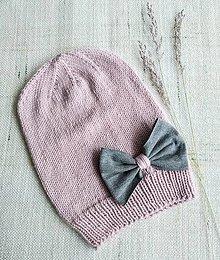 Detské čiapky - Merino čiapka s mašličkou - 12352246_