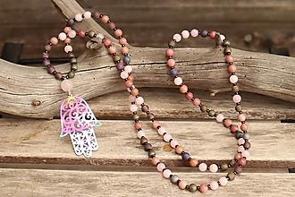 Náhrdelníky - Náhrdelník z minerálov achát, ruženín, rodonit - 12349934_