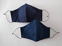 Rúška - Dizajnové rúška pár tmavomodré madeira tvarované dvojvrstvové (Pánske modré + dámske modré) - 12354260_