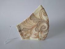 Rúška - Svadobné rúško vanila trojvrstvové  tvarované - 12354274_