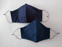 Rúška - Dizajnové rúško modré romantické s madeirou dvojvrstvové  tvarované (Dámske) - 12354282_