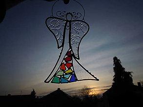 Dekorácie - Mozaikový anděl duhový - 12353385_