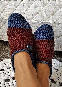 Obuv - Háčkované papuče v hnedej - 12354559_
