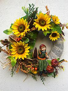Dekorácie - Jesenný veniec- dievčatko Slnečnička - 12353016_