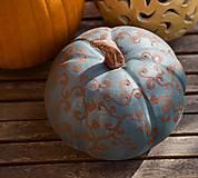 Dekorácie - šedomodrá keramická tekvica - 12354175_