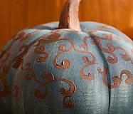 Dekorácie - šedomodrá keramická tekvica - 12354176_