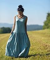Šaty - Maxi lněné Oceán - 12353317_