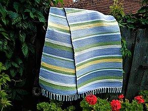 Úžitkový textil - Tkaný koberec sivo-bielo-žlto-zelený - 12353228_