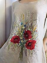 """Šaty - Ľanové maľované šaty """"Lúčna kytica II."""" (Ľanové maľované šaty """"Lúčna kytica s makmi III) - 12357315_"""