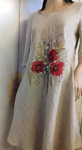 """Šaty - Ľanové maľované šaty """"Lúčna kytica II."""" (Ľanové maľované šaty """"Lúčna kytica s makmi III) - 12357318_"""