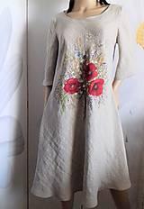 """Šaty - Ľanové maľované šaty """"Lúčna kytica II."""" (Ľanové maľované šaty """"Lúčna kytica s makmi III) - 12357323_"""