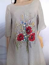 """Šaty - Ľanové maľované šaty """"Lúčna kytica II."""" (Ľanové maľované šaty """"Lúčna kytica s makmi III) - 12357324_"""