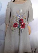 """Šaty - Ľanové maľované šaty """"Lúčna kytica II."""" (Ľanové maľované šaty """"Lúčna kytica s makmi III) - 12357328_"""