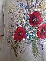 """Šaty - Ľanové maľované šaty """"Lúčna kytica II."""" (Ľanové maľované šaty """"Lúčna kytica s makmi III) - 12357329_"""