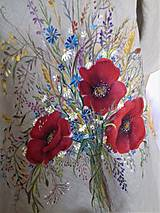"""Šaty - Ľanové maľované šaty """"Lúčna kytica II."""" (Ľanové maľované šaty """"Lúčna kytica s makmi III) - 12357330_"""