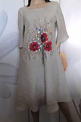 """Šaty - Ľanové maľované šaty """"Lúčna kytica II."""" (Ľanové maľované šaty """"Lúčna kytica s makmi III) - 12357337_"""