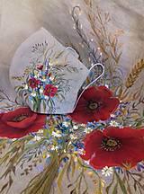 """Šaty - Ľanové maľované šaty """"Lúčna kytica II."""" (Ľanové maľované šaty """"Lúčna kytica s makmi III) - 12357342_"""