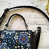 Kabelky - Kabelka SWEET BAG - farebný folk na čiernom podklade - 12357687_