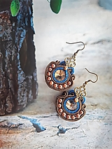Náušnice - hnedo modré rustikálne náušničky - 12357849_