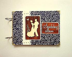 Papiernictvo - Fotoalbum svadobný * svadobný album A5 modrotlač - 12356297_