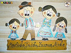 Tabuľky - Menovka - rodinka v krojoch dievčatá - 12358132_