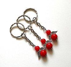 Kľúčenky - Prívesok COLOR anjelik veľký (červená) - 12356717_