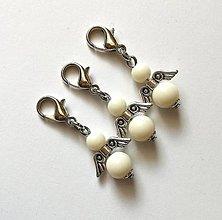 Kľúčenky - Prívesok COLOR anjelik malý (krémová) - 12357214_