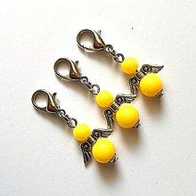 Kľúčenky - Prívesok COLOR anjelik malý (žltá) - 12357226_