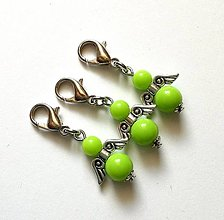 Kľúčenky - Prívesok COLOR anjelik malý (zelená) - 12357232_