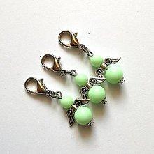 Kľúčenky - Prívesok COLOR anjelik malý (zelená svetlá) - 12357237_