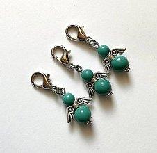 Kľúčenky - Prívesok COLOR anjelik malý (smaragd) - 12357244_