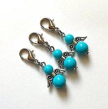 Kľúčenky - Prívesok COLOR anjelik malý (modrá) - 12357252_