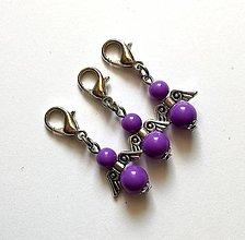Kľúčenky - Prívesok COLOR anjelik malý (fialová tmavá) - 12357288_