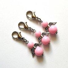 Kľúčenky - Prívesok COLOR anjelik malý (ružová svetlá) - 12357292_