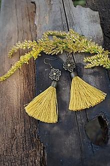 Náušnice - Náušnice zlato - horčicové - 12357940_
