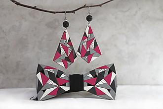 Sady šperkov - Drevený maľovaný motýlik Picasso + visiace náušnice Picasky - 12357023_