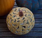 Svietidlá a sviečky - keramická tekvica - svietnik - 12356063_