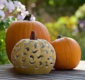 Svietidlá a sviečky - keramická tekvica - svietnik - 12356082_