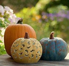 Svietidlá a sviečky - keramická tekvica - svietnik - 12356078_