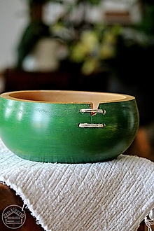 Nádoby - Drevená buková miska zelená Ø20/9 - 12361515_