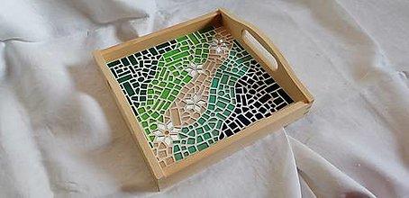 Nádoby - štvorcový podnos s mozaikou - 12361753_