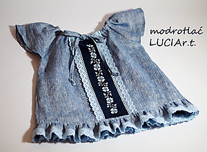 Detské oblečenie - Detské šatočky MODROTLAČ/ľan rifľovina - 12362403_