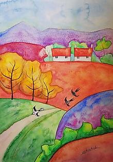Obrazy - Jeseň v dedinke (Originál) - 12360452_
