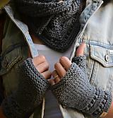 Rukavice - Dámska šatka a rukavice LISA - ZĽAVNENÉ (aj jednotlivo), šedé, 100% merino - 12360727_