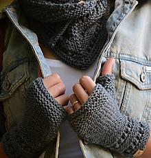 Rukavice - Dámska šatka a rukavice LISA (aj jednotlivo), šedé, 100% merino - 12360727_