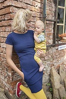 Tehotenské/Na dojčenie - Teplákové Šaty na dojčenie Marína Navy - 12359774_