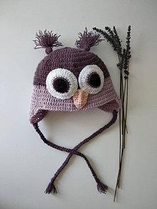 Detské čiapky - háčkovaná čiapka - Fialová sova - 12358956_