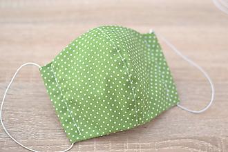 Rúška - ochranné bavlnené rúško pre väčšie deti (Zelená) - 12360338_